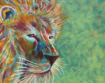 Giclee PRINT 5x7 Abstract Lion Majestic King Original Painting Acrylic Animal Safari Cat Art Wildlife Wall Art Card