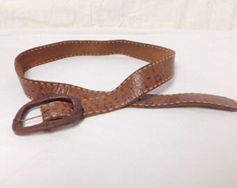 Leather belt,Painted belt, Wood Buckle,1970s,leather, belt