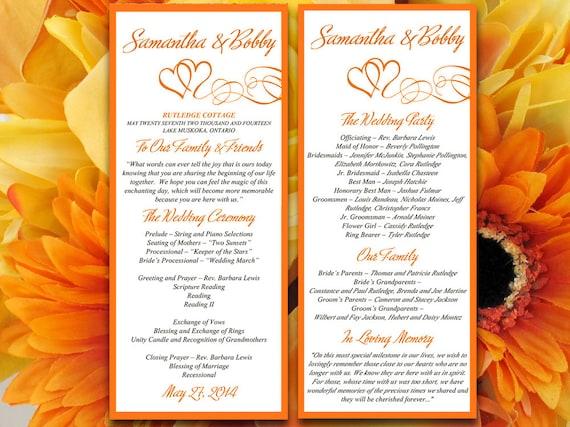 Double Heart Wedding Program Templates Blogsact