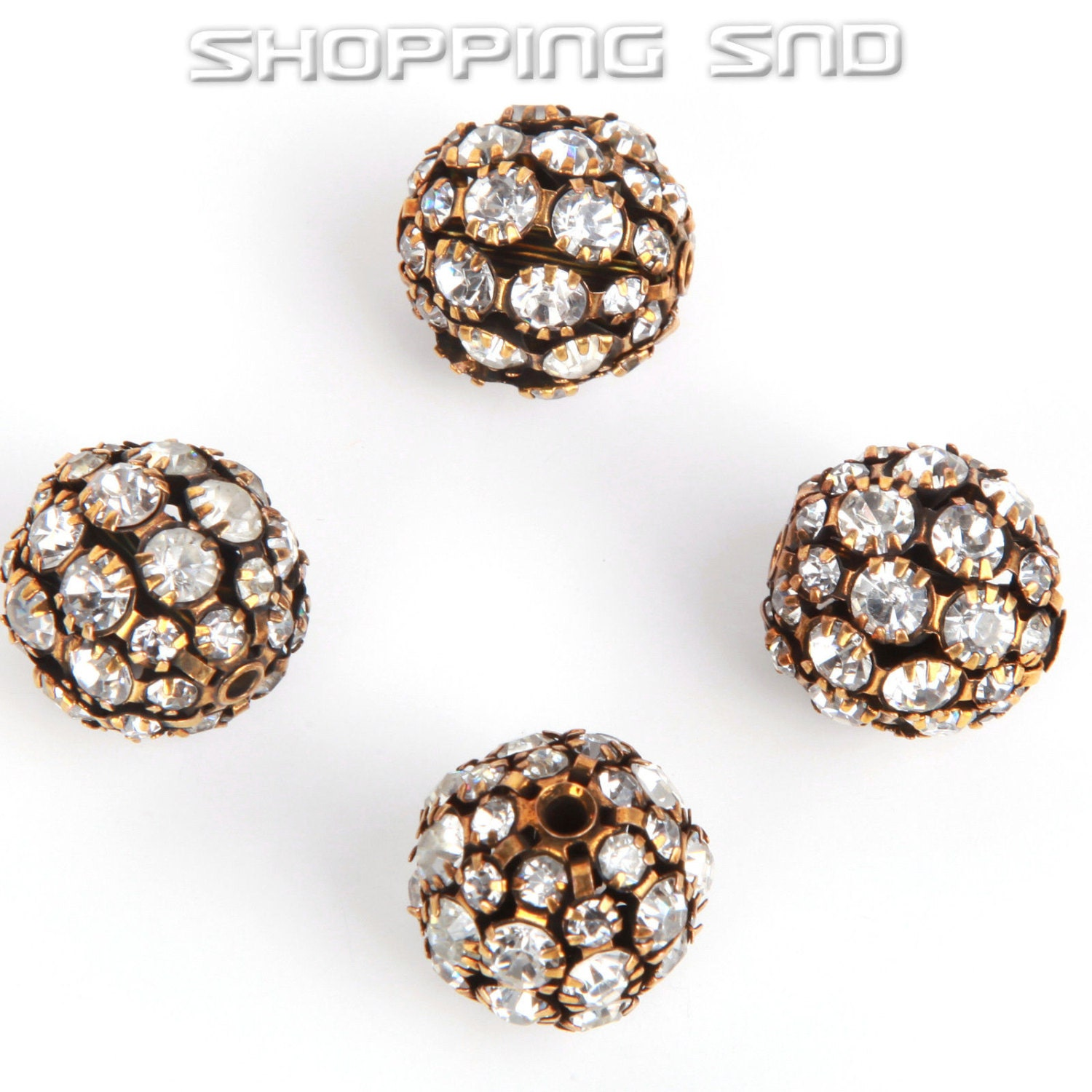 20mm Bead Beads: 20mm Hollow Round Ball Spacer Beads Bronze Pave White Crystal