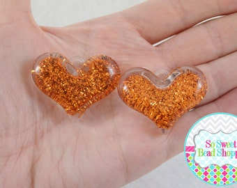 Acrylic Glitter Heart Pendant, 2ct, Orange, 37x30mm