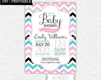 Girl Baby Shower invitation 5x7 Chevron DIY Printable ( NO )