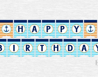 Instant Download Orange, Navy and Blue Happy Birthday Banner Nautical Birthday Party DIY Printable (PDN003)