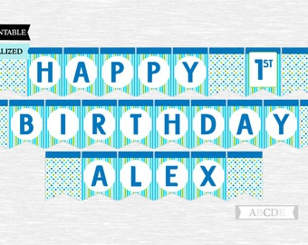 Personalized Lime and Blue Polka Dots Happy Birthday Banner Party Decoration PRINTABLE DIY (PDMD008)