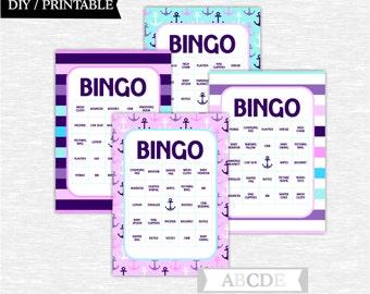 Instant DownloadPurple and Aqua  Nautical Baby shower Game, Traditional Bingo 30 Cards DIY Printable (PDNM001)