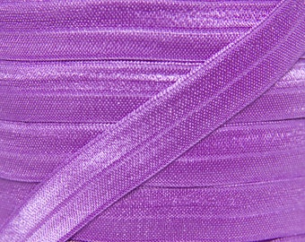 Grape Purple Fold Over Elastic - Elastic For Baby Headbands and Hair Ties - 5 Yards of 5/8 inch FOE