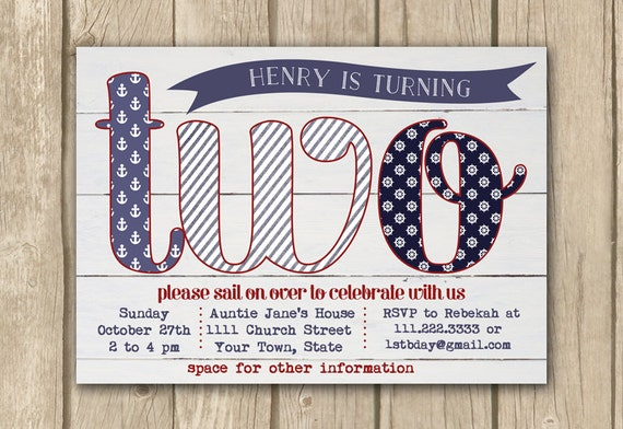 , baby boy invitation, turning 2, PRINTABLE, nautical theme party ...