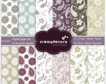 Digital Paper Pack - 12 Cachemir papers/ 8,5x11 inches(A4) - PA10034