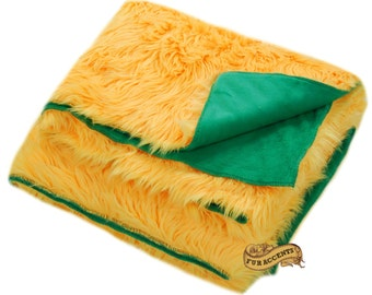 FUR ACCENTS Fan Fur Faux Fur Bedspread / Comforter / Gold Shag with Green Minky Lining