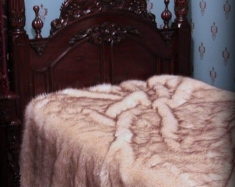 Exotic Faux Fur Bedspread - Comforter - White with Brown Tips - Arctic Fox - Minky Cuddle Fur Lining - Fur Accents Original Design - USA