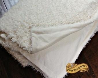 FUR ACCENT Minky Cuddle Fur Throw Blanket / Reversible / Shabby Chic Lambskin / Soft Fleece