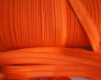 Autumn Orange FOE - 1 Yard 5/8 Fold Over Elastic - Foldover Elastic - Solid FOE- Elastic by the yard - Shiny Elastic - DIY