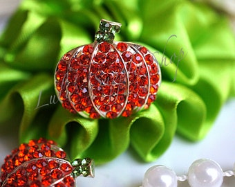Halloween Pumpkin Rhinestone Buttons - Metal Rhinestone Embellishments - Hair bow embellishments - 22mm Flower Centers - DIY headband supply
