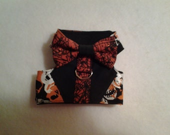Extra Small Halloween Vest Harness with a bow tie