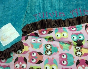 FREE SHIPPING Personalized Minky Baby Blanket with owls teal, pink, brown, yellow, turquoise