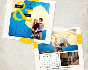 Bright Blue and Yellow Save the Date Cards & Envelopes- 5x5 Die Cut