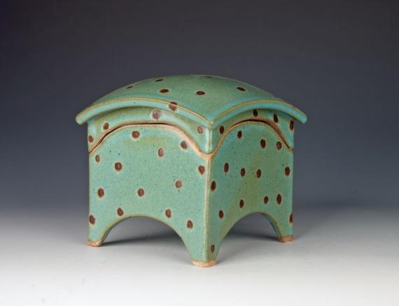 Blue Handmade Ceramic Box Slab Built Stoneware Curved Lid
