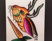 Items similar to print of bunny or jackalope watercolor for Tattoo shops in zanesville ohio