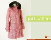 PDF sewing pattern. Women Hooded Coat -Pepernoot- (size 34-48)