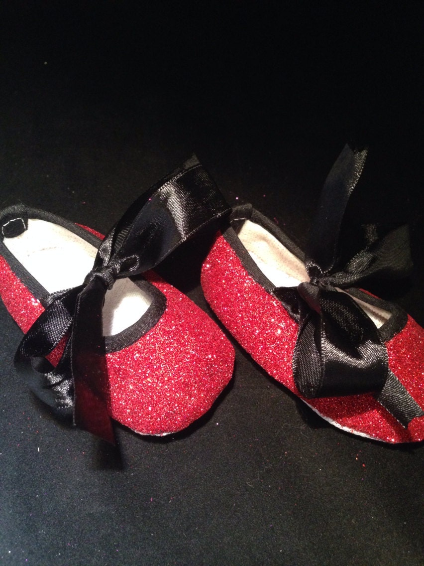 Red and black glitter baby girl shoes baby by