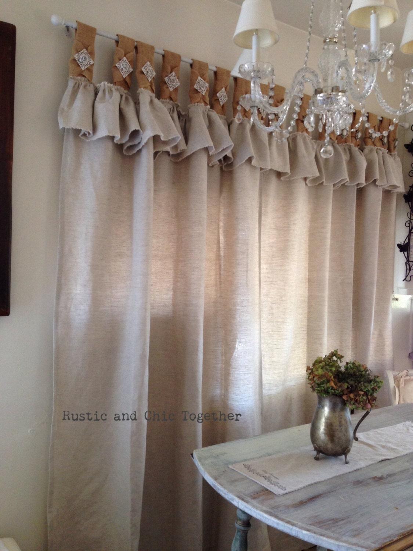 cortinas de arpillera de lino natural con acento de joyer a