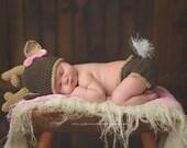 White Tail Deer Set, Crochet Deer Hat