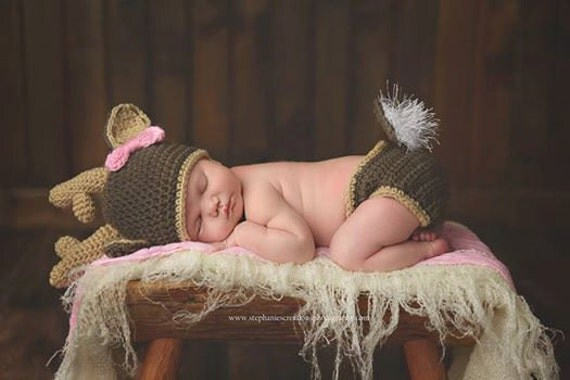 Free Crochet Deer Diaper Cover Pattern : Newborn Crochet Deer Hat and Diaper Cover White by ...