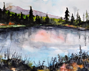 ORIGINAL Watercolor Landscape Painting, Mountain Scenery, Pine Trees and Lake 8x12 Inch