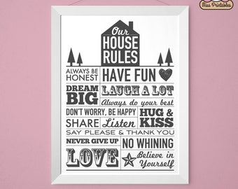 House rules sign etsy for Home design rules