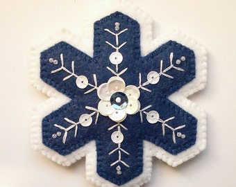 Blue and White Wool Felt Snowflake Ornament, Embroidered Snowflake, Sequined Snowflake, Christmas tree ornaments