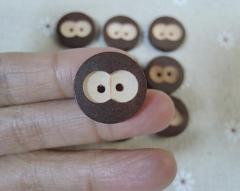 12 Pcs 20mm Brown Wood button 2 holes like cat eye  (W783)