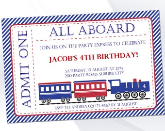 Train Invite Pack - Editable Text PDF - INSTANT DOWNLOAD