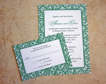 100 - 5x7 Emerald Wedding Invitations
