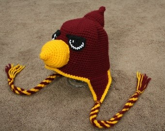 Crocheted Cardinal Hat
