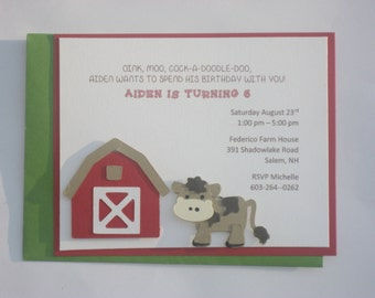 Barn  Yard Birthday Invitation, Farm yard animals invitation
