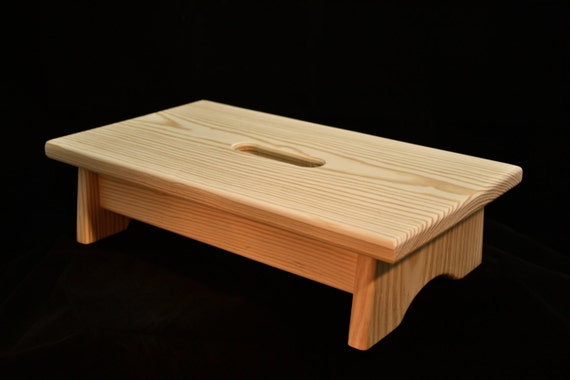 Small Wood Step Stool With Handle Hole Unfinished Pine