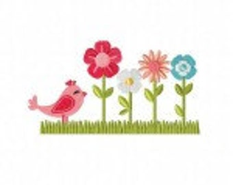 Spring Bird and Flowers Machine Embroidery Design