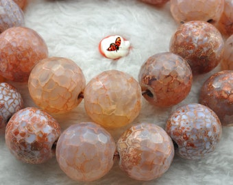 Fire Agate faceted round beads 15mm,25 pcs