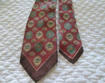 Silk Tie  Brown/ Rust/ Turquoise Retro Men's Accessory