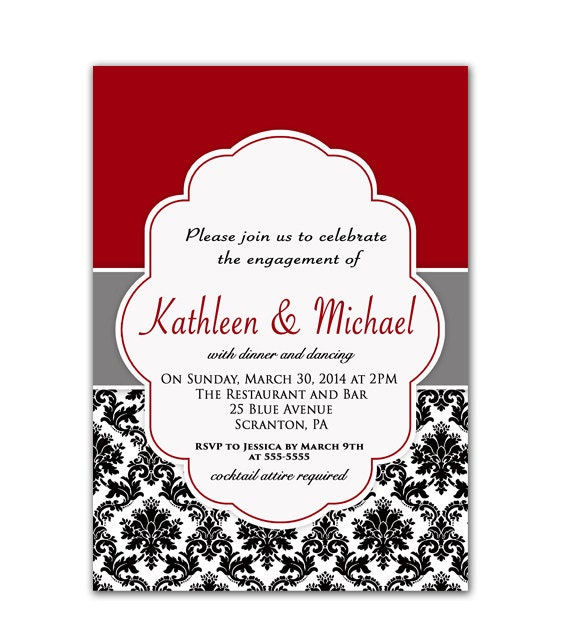 Dinner Party Invitations: Wedding Engagement Dinner Party Invitation Red By