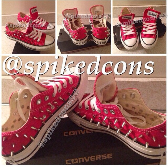 Red low converse women size 7 gold spikes /leopard tongue