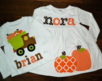 Brother Sister Sibling Set-Pumpkin Applique Outfits- Perfect for Family Pictures