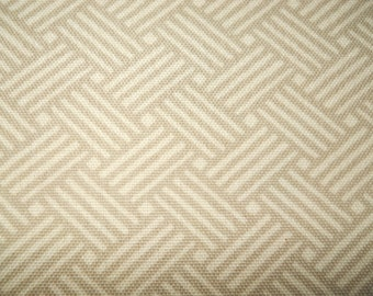 Outdoor Indoor Neutral Tan Rattan Basket Weave Reed Polyester Upholstery Fabric