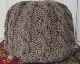 Cable Knit Pouf Ottoman - Pre-Stuffed, Made to Order 35 color options