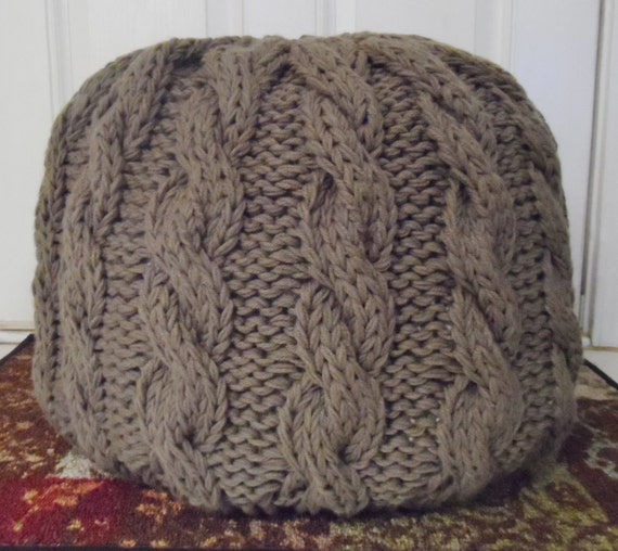 Cable knit pouf ottoman not stuffed made to order 35 color - Knitted pouf ottoman pattern ...