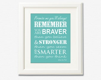 Teal typography nursery art Print - 8x10 - Christopher Robin, Winnie the Pooh, nursery quote, promise me you will always remember - UNFRAMED