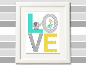 Grey and yellow love nursery Art Print -8x10- Children wall art, elephant, birds, aqua, grey, turquoise, teal - UNFRAMED