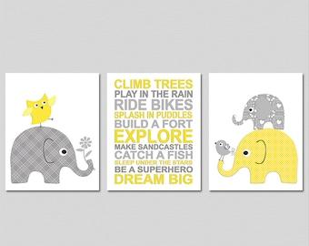 Yellow and grey elephant art print set, Nursery Art Print Set - 8x10 - Neutral gender, dream big, owl, bird, climb trees - UNFRAMED