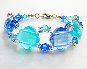 Blue Glass Bead and Swarovski Crystal Bracelet, Royal Blue Flower Bracelet, Aqua Bracelet, Shades of Blue Bracelet in Stainless Steel