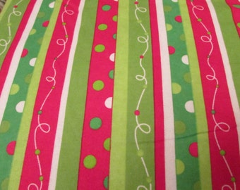 Christmas Flannel Fabric - Christmas Dotted Stripe - 1 yard - 100% Cotton Flannel